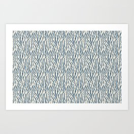 Dark Blue Tiger Stripes Pattern on Linen White Pairs To 2020 Color of the Year Chinese Porcelain Art Print