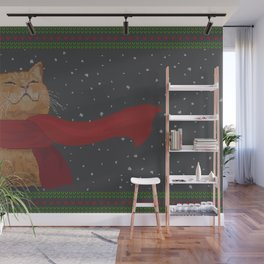 Knitted Wintercat Wall Mural