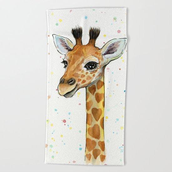 Giraffe Baby Animal with Hearts Watercolor Cute Whimsical Animals Nursery Beach Towel