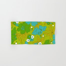 Green, Turquoise, and White Retro Flower Design Pattern Hand & Bath Towel