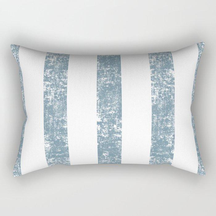 Maritime Navy Beach Pattern- Blue and White Stripes- Vertical - Rectangular Pillow