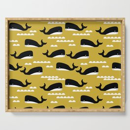 Whales nautical ocean theme grey kids room nursery boys or girls decor Serving Tray