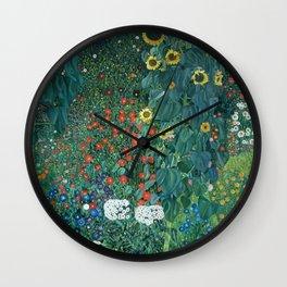 "Gustav Klimt ""Farm Garden with Sunflowers"" Wall Clock"