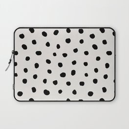 Modern Polka Dots Black on Light Gray Laptop Sleeve