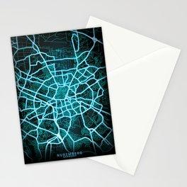 Nuremberg, Germany, Blue, White, Neon, Glow, City, Map Stationery Cards