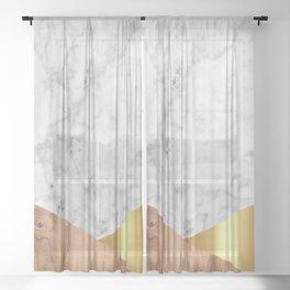 Geometric White Marble - Wood & Gold #884 Sheer Curtain