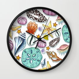 Illustrated Seashell Pattern Wall Clock