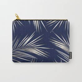 White Gold Palm Leaves on Navy Blue Carry-All Pouch