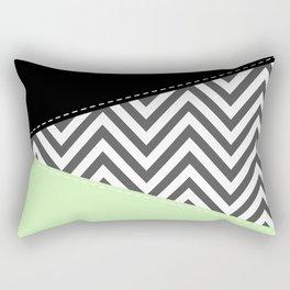 Zigzag Pattern, Chevron Pattern - Gray Green Black Rectangular Pillow