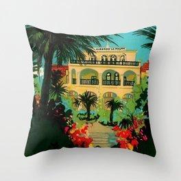 Vintage Capri, Italy Seaside Hotel Albergo La Palma Advertising Poster Throw Pillow