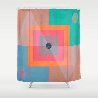 positive Shower Curtains featuring Positive geometry by ViviGonzalezArt