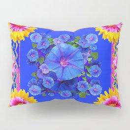 BUTTERFLIES FUCHSIA DAHLIA SUNFLOWER MORNING GLORY BLUE  FLORAL Pillow Sham