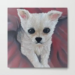 Adorable baby chihuahua, original oil painting by Luna Smith, LuArt Gallery Metal Print