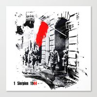poland Canvas Prints featuring Warsaw Uprising, Poland - 1944 by viva la revolucion