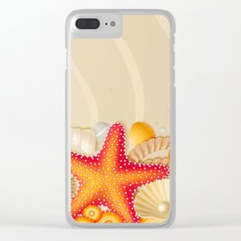 Shells Starfishes and Sand Clear iPhone Case
