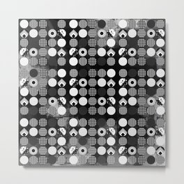 Hectic Geometric On Textured Black And White Metal Print