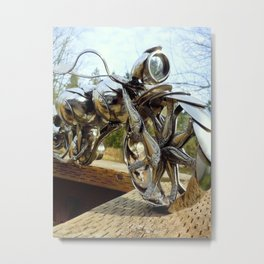 The Owl Against Sky- Spoon Motorcycle by James Rice Metal Print