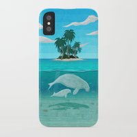 manatee iPhone & iPod Cases featuring Manatee Island by Lidra