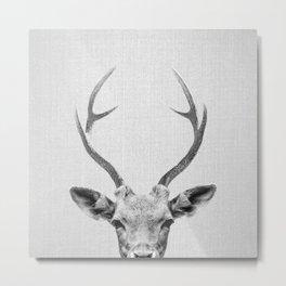 Deer - Black & White Metal Print