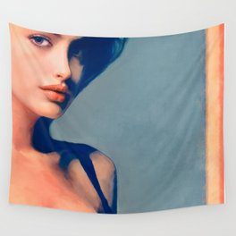 Portrait Of Young Woman With Large Eyes Wall Tapestry