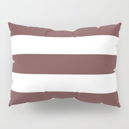 Roast coffee - solid color - white stripes pattern Pillow Sham