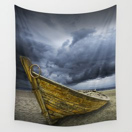 Beached Boat with Storm Brewing Wall Tapestry