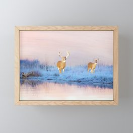 Deer at Winter Pond Framed Mini Art Print
