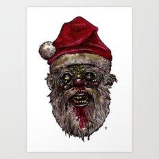 Heads of the Living Dead  Zombies: Santa Zombie Art Print