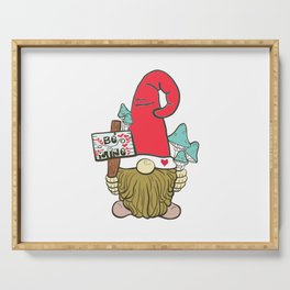 Valentine Red Hat Garden Gnome With Be Mine Hearts Sign Serving Tray