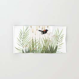 Red Winged Black Bird & Botanicals Hand & Bath Towel