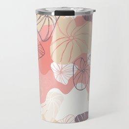 Large Abstract Dandelion Seeds Repeating Pattern on Orange Travel Mug