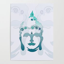 Buddha Head turquoise I Poster