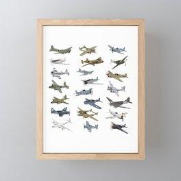 Various American WW2 Airplanes Framed Mini Art Print