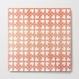 Living Coral Hearts Pattern Metal Print