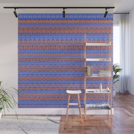 Blue and Orange Patterned Stripes Wall Mural