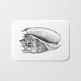 Seashell | Sea Shell | Conch Shell | Black and White | Bath Mat