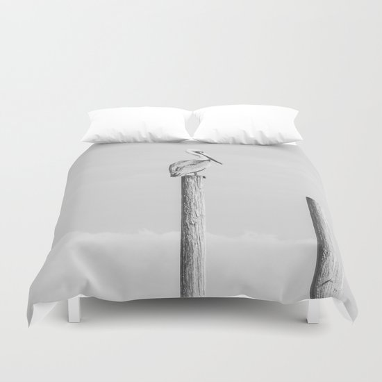 Pelican on a Post Duvet Cover