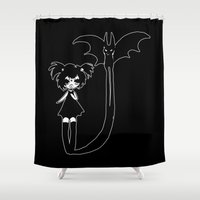 bat Shower Curtains featuring ▴ bat ▴ by PIXIE ❤︎ PUNK
