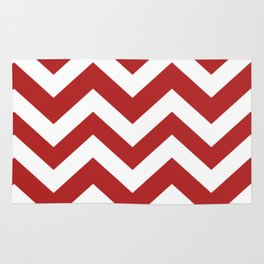 Firebrick - red color - Zigzag Chevron Pattern Rug