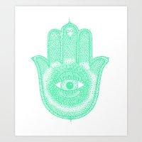 hamsa Art Prints featuring Hamsa  by Luna Portnoi