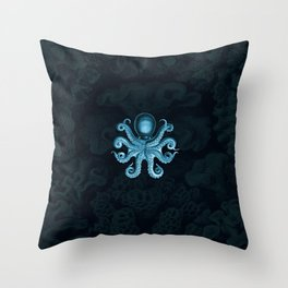 Octopus2 (Blue, Square) Throw Pillow