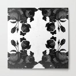 Black Floral Metal Print