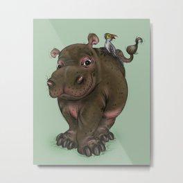 Hippo and Bird Friend Metal Print