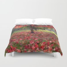 Oil crayon illustration of a red maple tree in the Boston Public Garden Duvet Cover