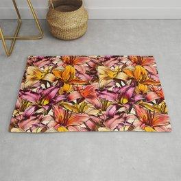 Daylily Drama - a floral illustration pattern Rug