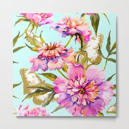Flowery nature and golden butterfly Metal Print