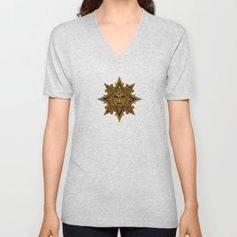 Ancient Yellow and Black Aztec Sun Mask Unisex V-Neck