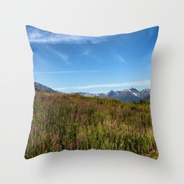 Fire weeds in Alaska within the Denali park Throw Pillow