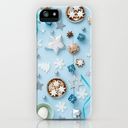 Blue Christmas decoration on wood iPhone Case