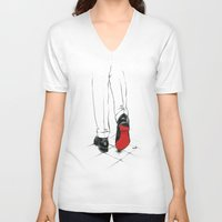 code V-neck T-shirts featuring Code Red by anna hammer